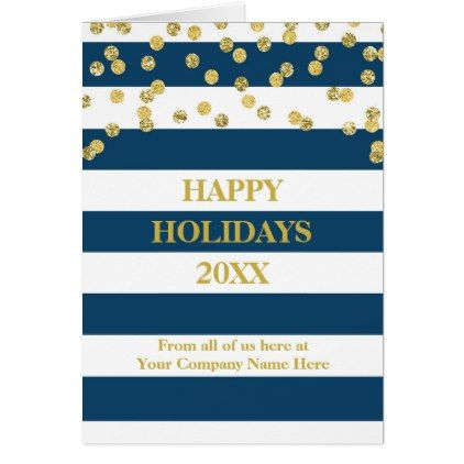 Navy Stripes Gold Confetti Corporate Christmas Card - christmas cards merry xmas family party holidays cyo diy greeting card