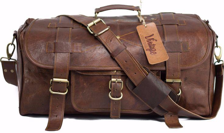 Vintage Leather Military Style Duffle Bag Weekender Bag 20'' - Vintage Leather