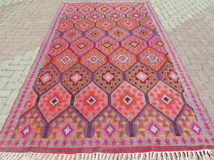 Vintage Turkish Kilim Rug Area Carpet Handwoven Antique