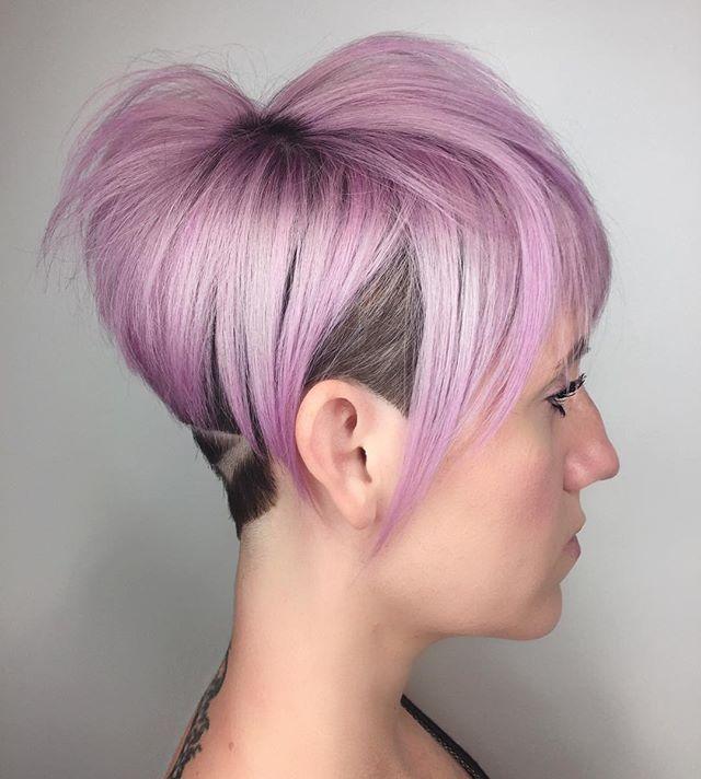 Last one for this blush pink babe...final profile. Sure fun collaboration between myself and @_elliskate #lovewhatyoudo #modernsalon #nothingbutpixies #pravana #pastel #americansalon #hairbrained #linework #ladybarber #hairtattoo