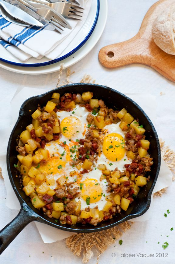 sausage & chorizo hash skillet. in little skillets, they make perfect cold morning breakfast in bed