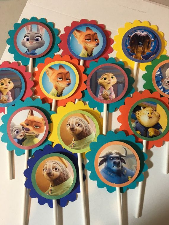 Assorted Zootopia Character Cupcake Toppers by PartysandMore