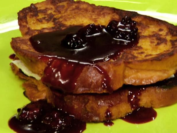 Get Pumpkin French Toast Stuffed with Blackberry-Caramel Mascarpone Recipe from Food Network