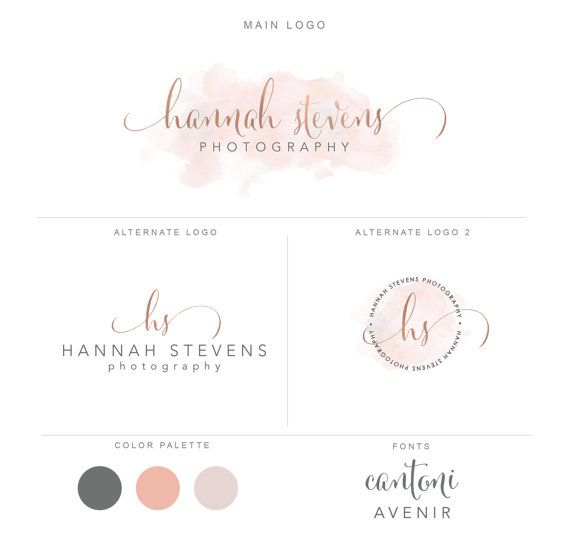 Photography logo package, premade rose gold and watercolor logo design, custom watermark business logo bp52