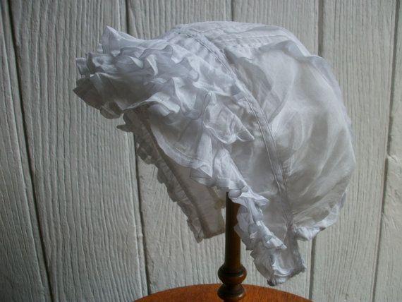 Antique French Baby Bonnet Lace Pintuck Pleats by Vintagemaison