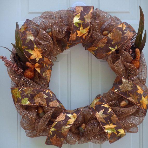 Mesh WreathFall Deco Mesh Wreath Front Door by OneofaKindWreath