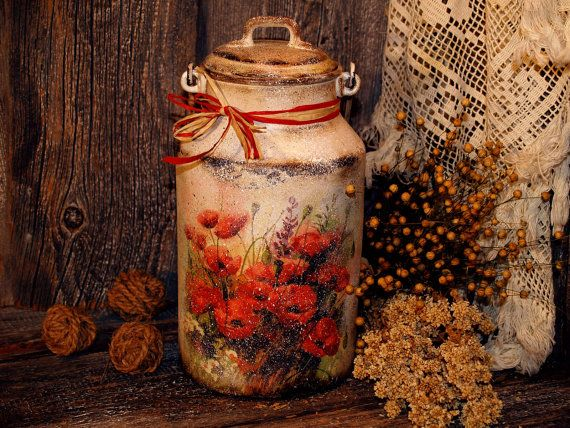 SALE.Upcycled Real 60 year old decoupage rustic milk pot jug can Storage for kitchen Enamelware Decoupage technique shabby chic style