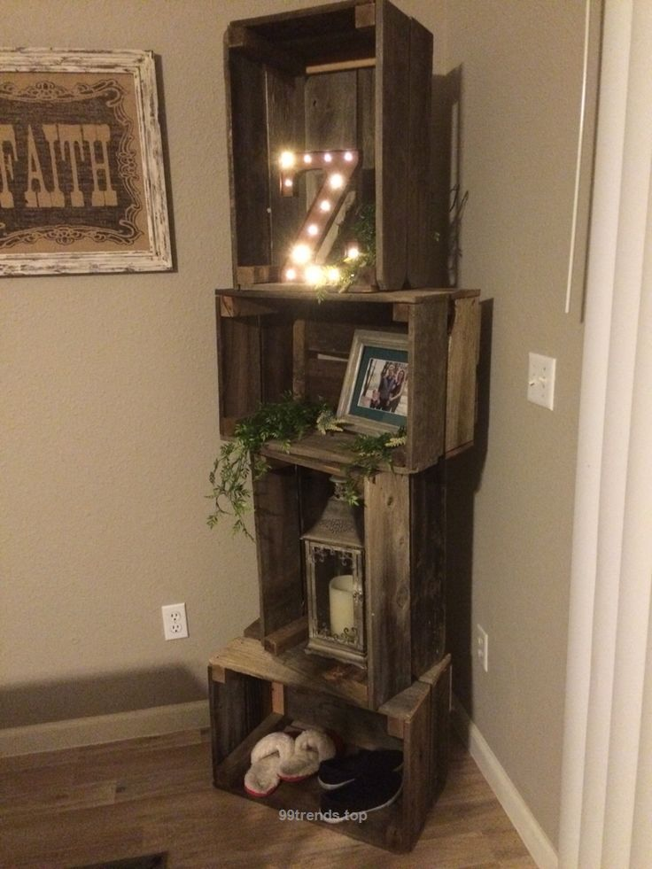 Unbelievable Rustic crate shelf unit with basketball, tennis shoes, nail polish, tiger  The post  Rustic crate shelf unit with basketball, tennis shoes, nail polish, tiger…  appe ..