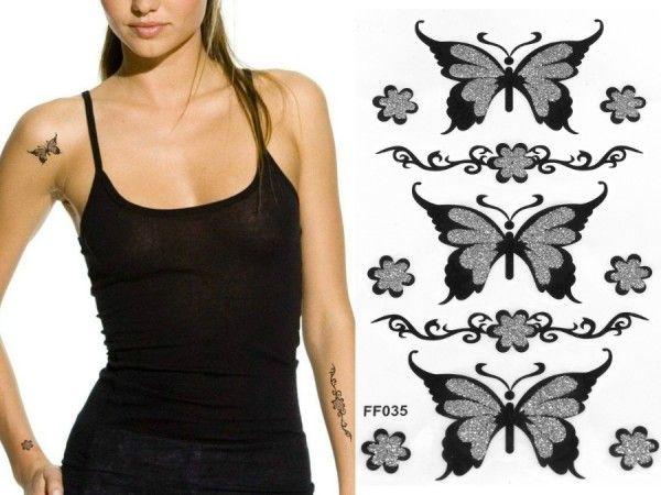 Büyük Kelebekler Siyah Silver Simli Geçici Dövme