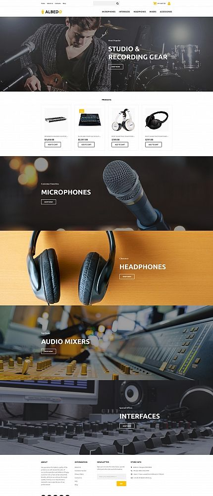 Albedo - Audio Shop MotoCMS Ecommerce Template