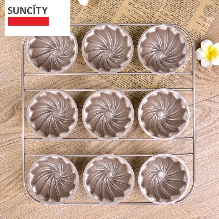 9 Cups Tart Pan Metal Nonstick Flower Shape Muffin Cupcake  Pan Tray Tin 3D Baking Cake Pudding Pan DIY Cooking Tools bm-049
