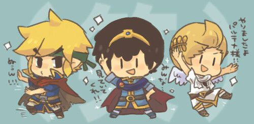 They're so cute!!!!toon link ness and Lucas dressed in Ike's marths and pits clothes!