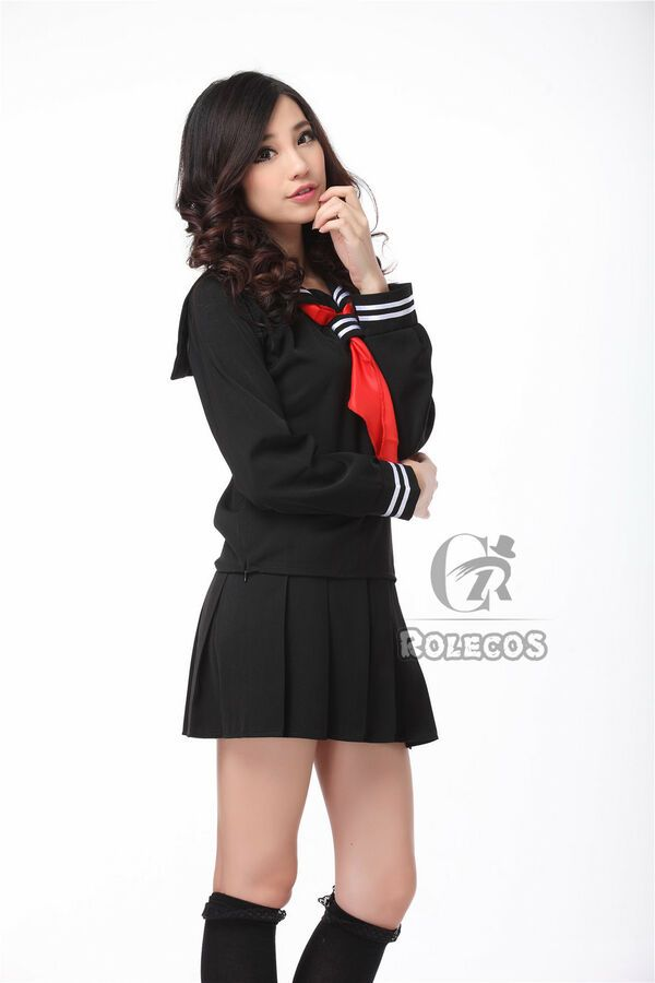 Japanese Women Enma Ai Black Long Sleeve Sailor School Uniform Cosplay Costume