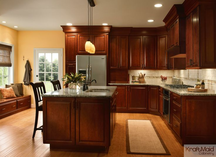 This Cherry Square Raised Panel Door In Autumn Blush Adds Warmth To This  Transitional Kitchen.