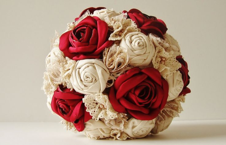bridesmaid bouquets made with fabric flowers | ... Bridal Bouquet, Fabric Flower Bouquet, Wedding Bouquet, Red Roses