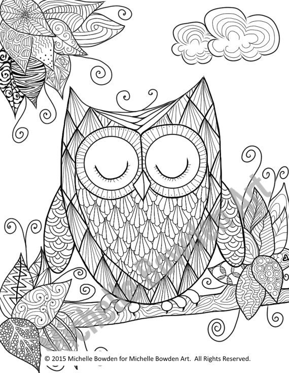 Coloring Page Printable Sleepy Owl Zendoodle By MichelleBowdenArt