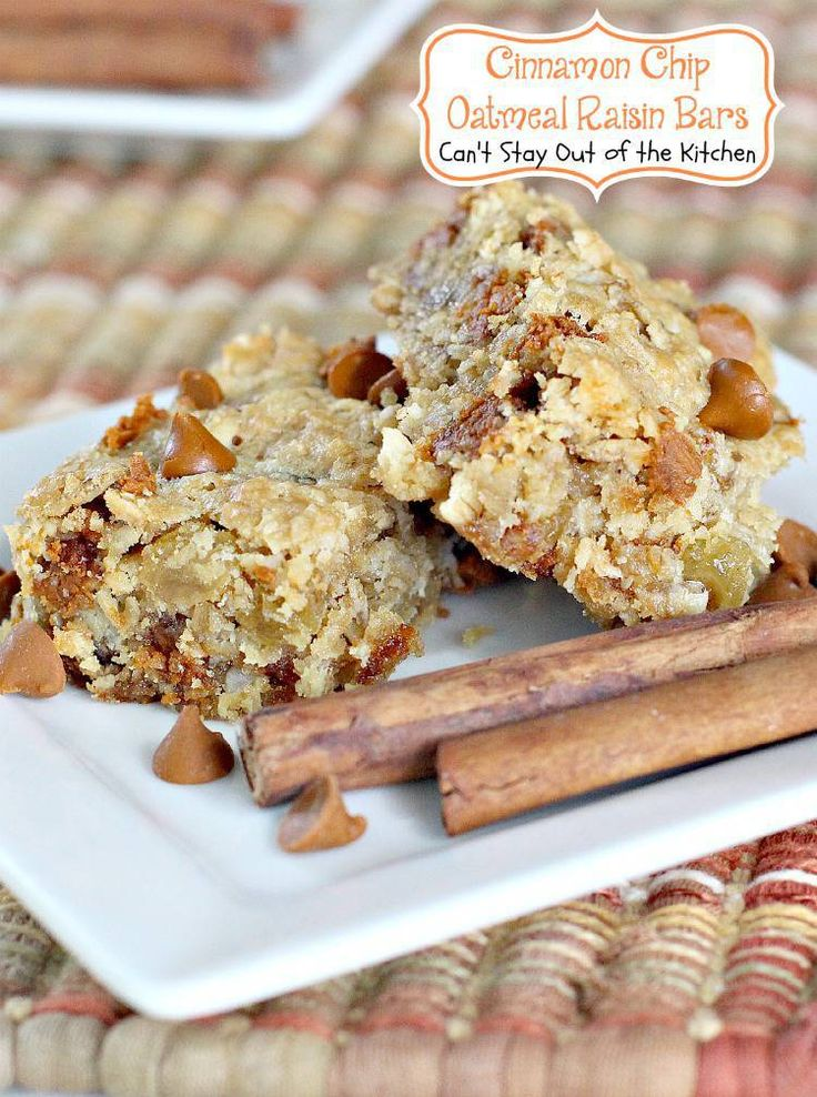 Cinnamon Chip Oatmeal Raisin Bars | Can't Stay Out of the Kitchen | wonderful #oatmeal #raisin #cookies with #cinnamonchips in the batter. #dessert