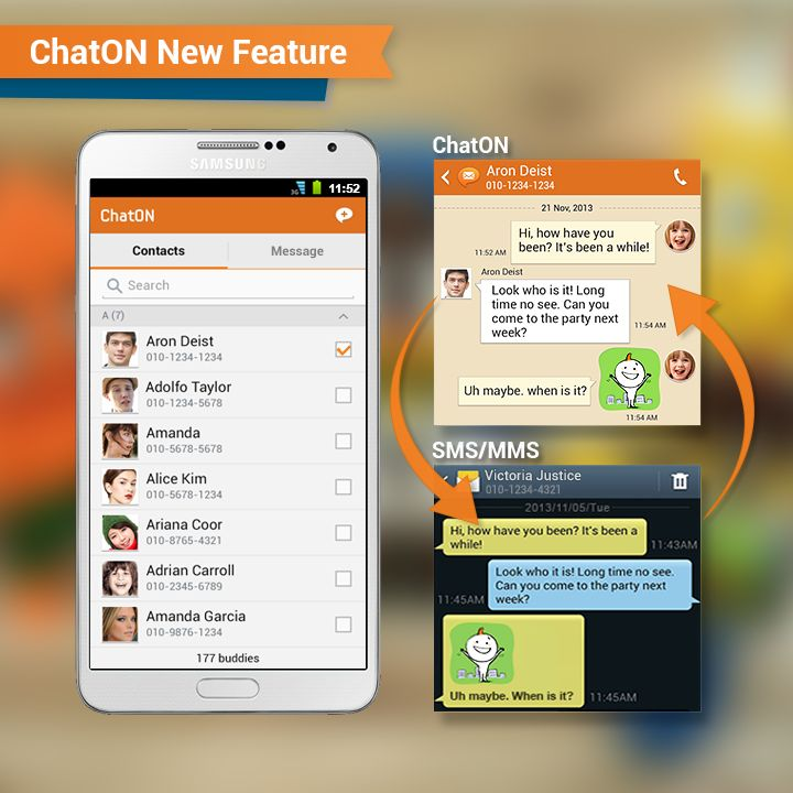 [ChatON New Feature] Exchange SMS/MMS dialogue through ChatON /  Did you know that you can exchange SMS/MMS through ChatON? Now, you don't have to turn ChatON off to send a message to a non-ChatON user.You can send a message directly through ChatON to all of your friends. Also you can have a more expressive dialogue with ChatON's Anicon and Emoticons that can be sent through MMS. Let's supervise different kinds of messages through ChatON. (The new feature is only available in Brazil and…
