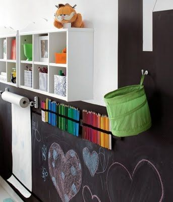 I love this wall...love how they installed the butcher paper roller, chalk wall and storage. good idea for play room or basementj