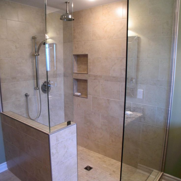 25 best ideas about shower no doors on pinterest modern for Showers without glass