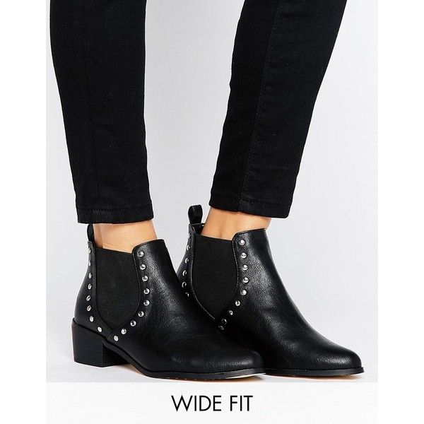 New Look Wide Fit Stud Detail Chelsea Boot (395 SEK) ❤ liked on Polyvore featuring shoes, boots, black, wide black boots, wide width boots, chelsea bootie, black shoes and mid-heel boots