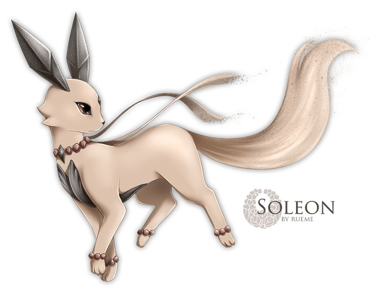 Eevee –> Soleon Evolves from Eevee when leveled up in a sandstorm. Rock / Ground Source. Artist: Rueme(Commissioned for MagicalTrevor)
