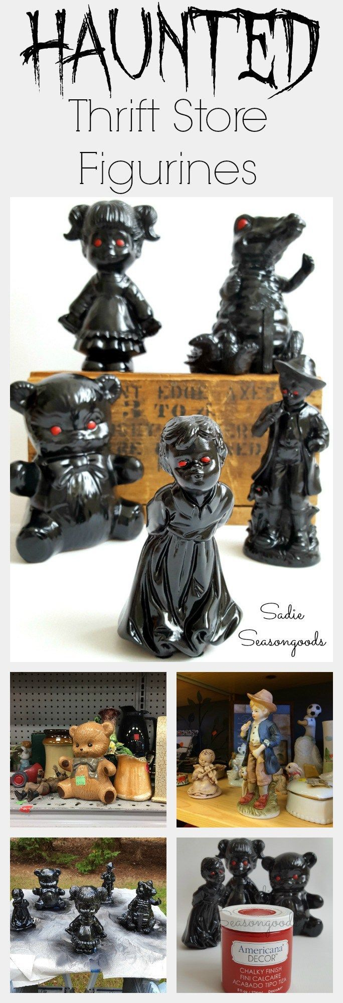 HALLOWEEN ALERT!!! This is perhaps the easist DIY Halloween repurpose / upcycle project of all time...anyone can do it, even if you're 0% crafty! Find some odd, unusual, weird, or even broken figurines at a thrift store, spray paint them black, and give them haunted red eyes. It's that easy! Perhaps last minute Halloween decor if you've procrastinated this year. :) Boo! #SadieSeasongoods / www.sadieseasongoods.com
