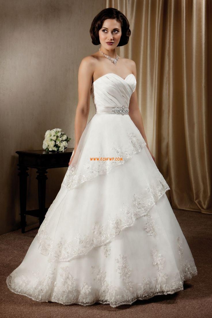 Prinsess Court Släp Naturlig Lyx Bröllopsklänningar