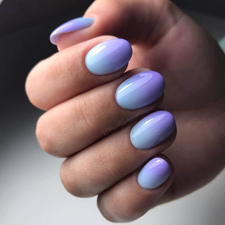 Simple nail design, blue and lilac ombre on oval nails.