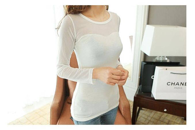 Clean white see-through mesh T-shirt | mall mice