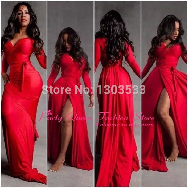 Find More Prom Dresses Information about Red Long Sleeve New Fashion Sweetheart Simple Ruffles Simple Cheap High Slit Evening Dresses Mermaid Prom Dress 2015,High Quality dress up games wedding dress,China dress male Suppliers, Cheap dress chic from party  Queen Fashion Store on Aliexpress.com