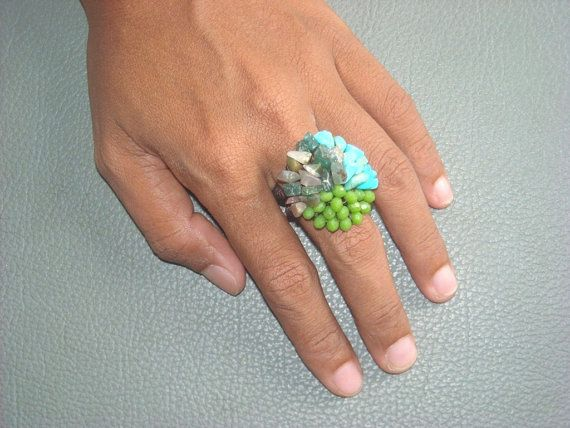 BEADED  crochet RING in TURQUOISE and  Greens. by ExtravaganzaBali    $8.90 USD