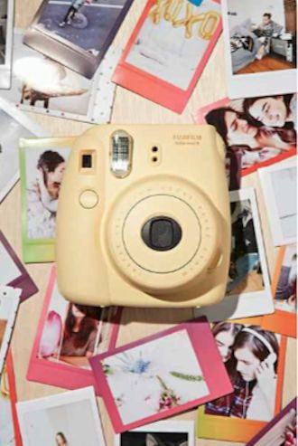 cute yellow instant Fuji polaroid camera - only $80!