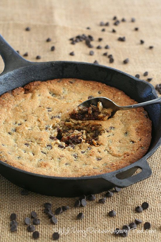 Low Carb Skillet Chocolate Chip Cookie Recipe - can be made paleo with all coconut oil and coconut sugar