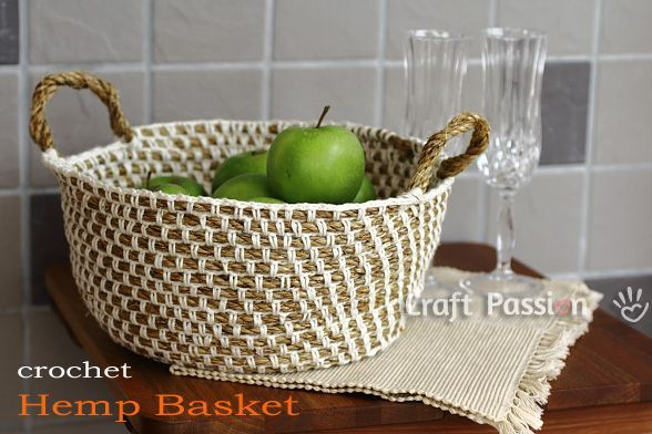 Crochet Hemp Basket - Cool and trendy basket you can make your own with rope and yarn.