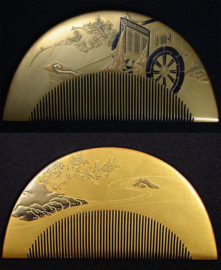 Japanese wood comb, palankeen decor, late Meiji period (1897-1912), Width : 5…
