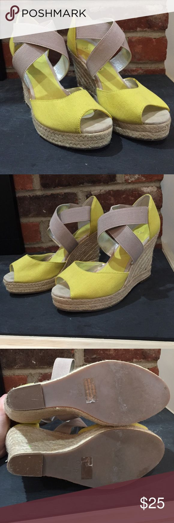 Gap size 8 yellow espadrilles In great used condition, size 8 from the Gap. Braided 4 inch wedge heel. GAP Shoes Espadrilles