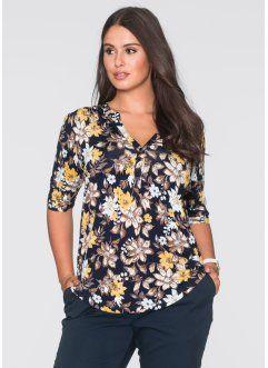 Блузка с застежкой на пуговицы, BODYFLIRT, темно-синий в цветочек
