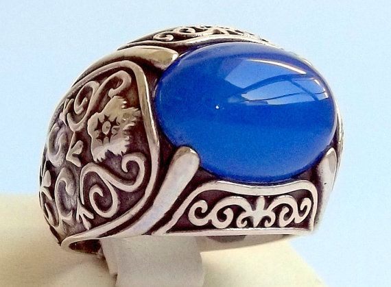 925 Sterling Silver Men's Ring with Real Lapis   by lunasilvershop, $109.90