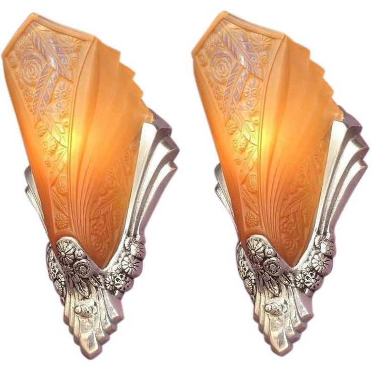 Art Deco Sconces with Original Slip Shades, circa 1928 | From a unique collection of antique and modern wall lights and sconces at https://www.1stdibs.com/furniture/lighting/sconces-wall-lights/