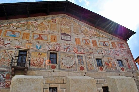 Frescoes of Palazzo della Magnifica Comunita' in Cavalese, Trento. Formerly, the building was the seat of the governing council in medieval period, but now it houses great collection of archaeological artefacts and many medieval paintings.