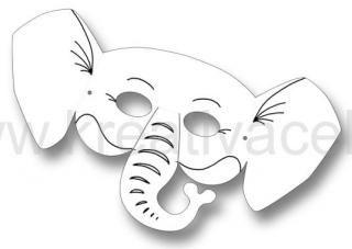 Papírová maska pro následnou dekoraci s motivem slona -1ks