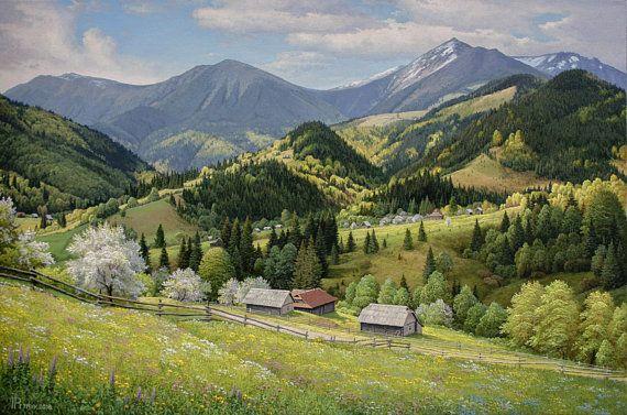 Oil Painting Landscape Oil Painting Oil Painting Original Landscape Landscape Oil Painting Mountain In 2019 Landscape Paintings Mountain Paintings Spring Landscape