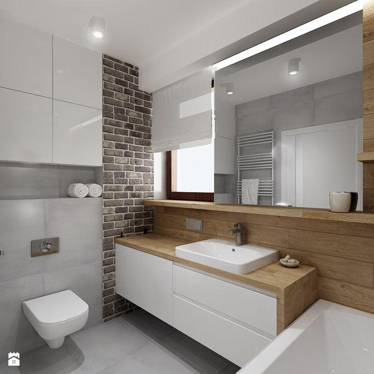 Mała łazienka z szarą cegła - Średnia łazienka z oknem, styl nowoczesny - zdjęcie od All Design Agnieszka Lorenc