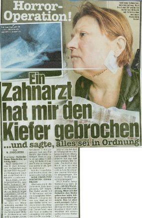 Bild vom 21.02.2015 - Horror-Operation! Ein Zahnarzt hat mir den Kiefer gebrochen ...und sagte, alles sei in Ordnung - Rechtsanwaltskanzlei Sabrina Diehl