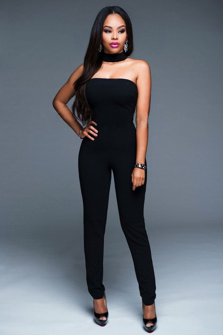 Black Sexy Strapless Jumpsuits with Matching Neck Band