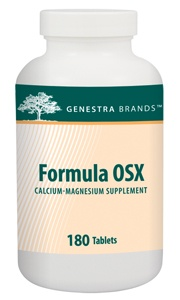 Formula OSX 180 by Genestra - Calcium-Magnesium Supplement. Formula OSX provides calcium from microcrystalline hydroxyapatite along with magnesium and synergistic nutrients to help in the development and maintenance of bones and teeth and to help in tissue formation. On sale at The Health Garden for $44.45