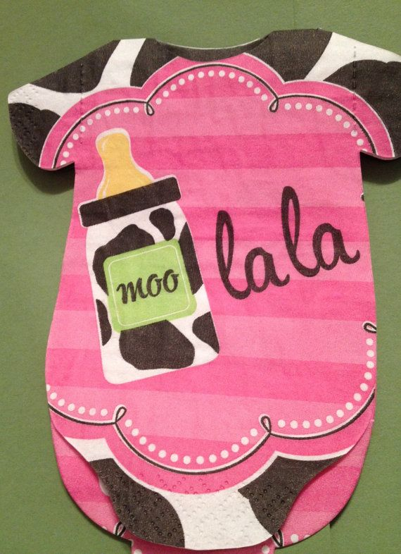 Pack of 30 cow print milk themed baby shower onesie napkins.  Moo la la. on Etsy, $32.00