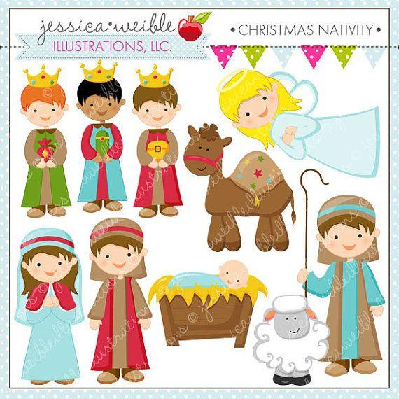 Navidad Natividad linda Navidad Digital por JWIllustrations en Etsy