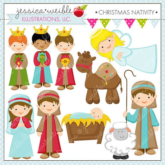 Christmas Nativity Cute Christmas Digital Clipart for Commercial or Personal Use, Christmas Clipart, Christmas Graphics on Etsy, $5.00